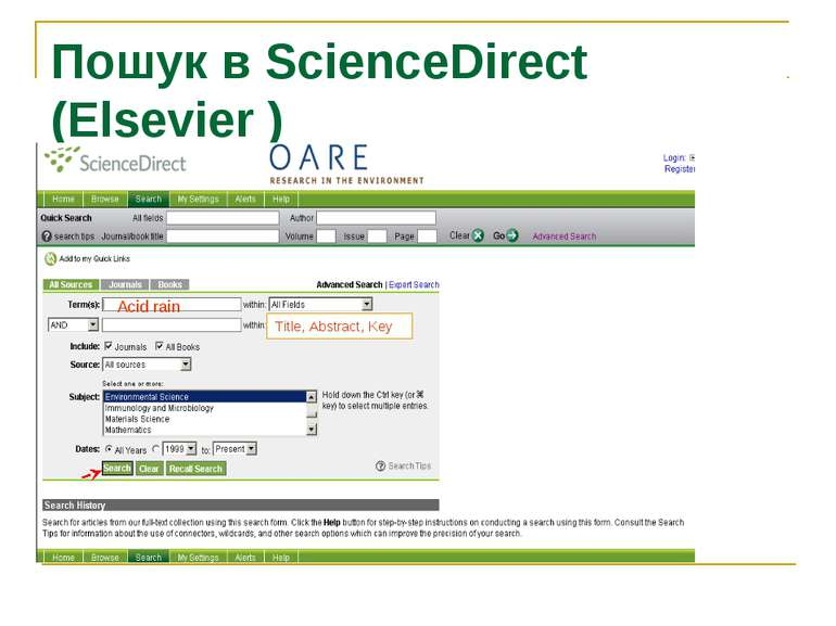 Пошук в ScienceDirect (Elsevier ) Acid rain Title, Abstract, Key