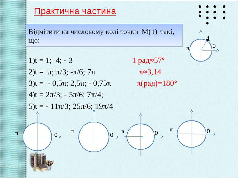 Відмітити на числовому колі точки М( t) такі, що: 1)t = 1; 4; - 3 1 рад≈57° 2...
