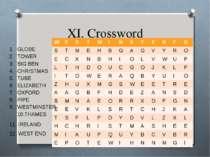XI. Crossword GLOBE TOWER BIG BEN CHRISTMAS TUBE ELIZABETH OXFORD PIPE WESTMI...
