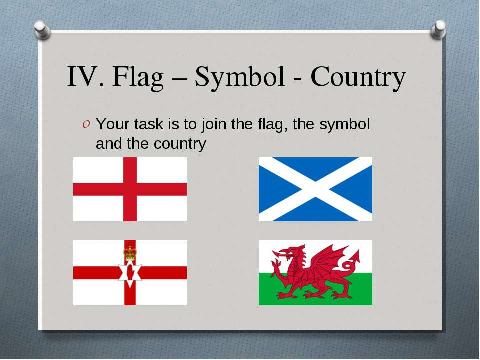 IV. Flag – Symbol - Country Your task is to join the flag, the symbol and the...
