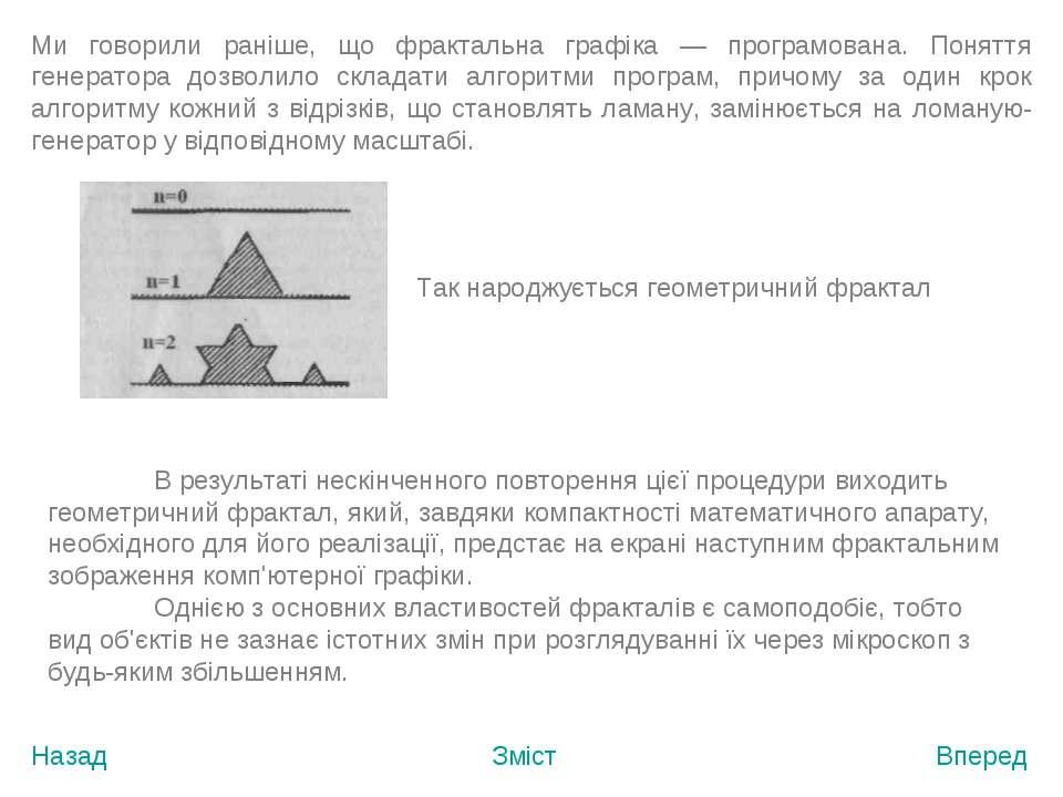 Назад Зміст Вперед Ми говорили раніше, що фрактальна графіка — програмована. ...