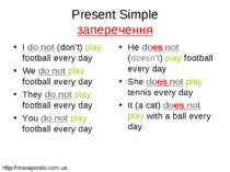 Present Simple заперечення I do not (don't) play football every day We do not...