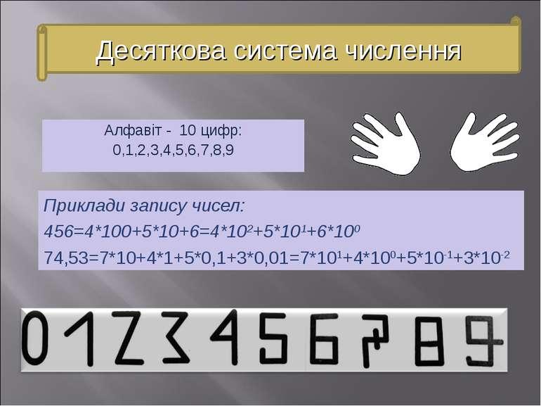 Алфавіт - 10 цифр: 0,1,2,3,4,5,6,7,8,9 Приклади запису чисел: 456=4*100+5*10+...
