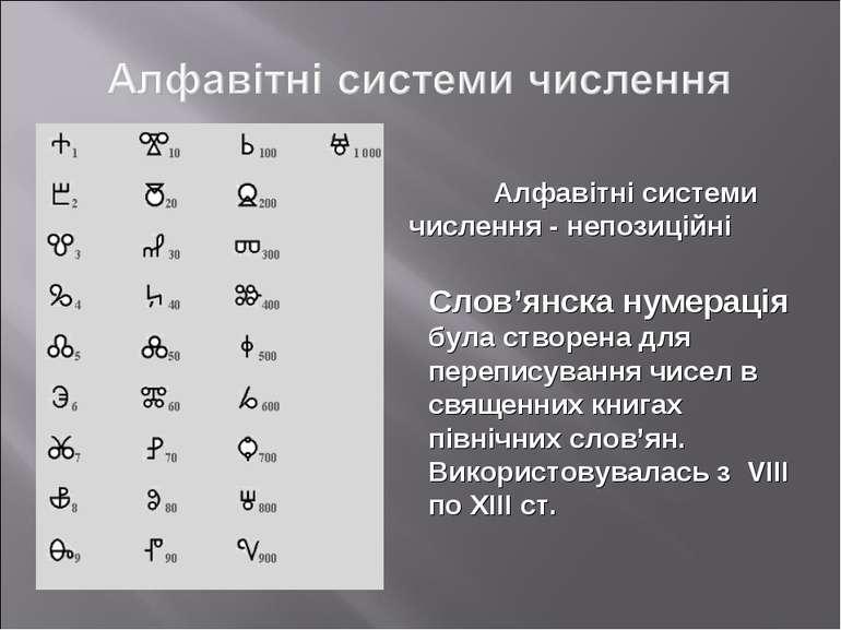 Алфавітні системи числення - непозиційні Слов'янска нумерація була створена д...