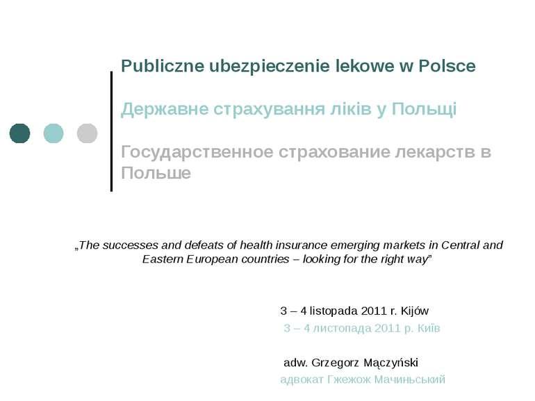 Publiczne ubezpieczenie lekowe w Polsce Державне страхування ліків у Польщі Г...