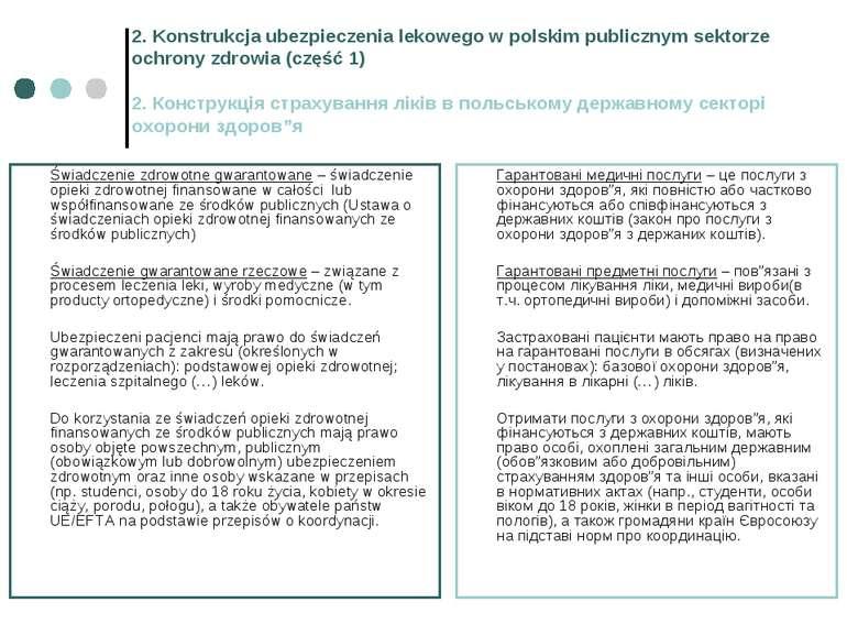2. Konstrukcja ubezpieczenia lekowego w polskim publicznym sektorze ochrony z...
