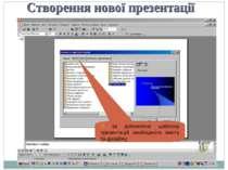* Створення нової презентації 3) за допомогою шаблону презентацій необхідного...