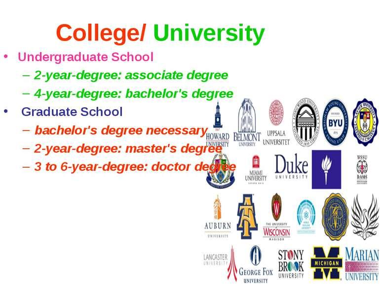 College/ University Undergraduate School 2-year-degree: associate degree 4-ye...