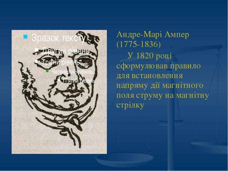 Андре-Марі Ампер (1775-1836) У 1820 році сформулював правило для встановлення...