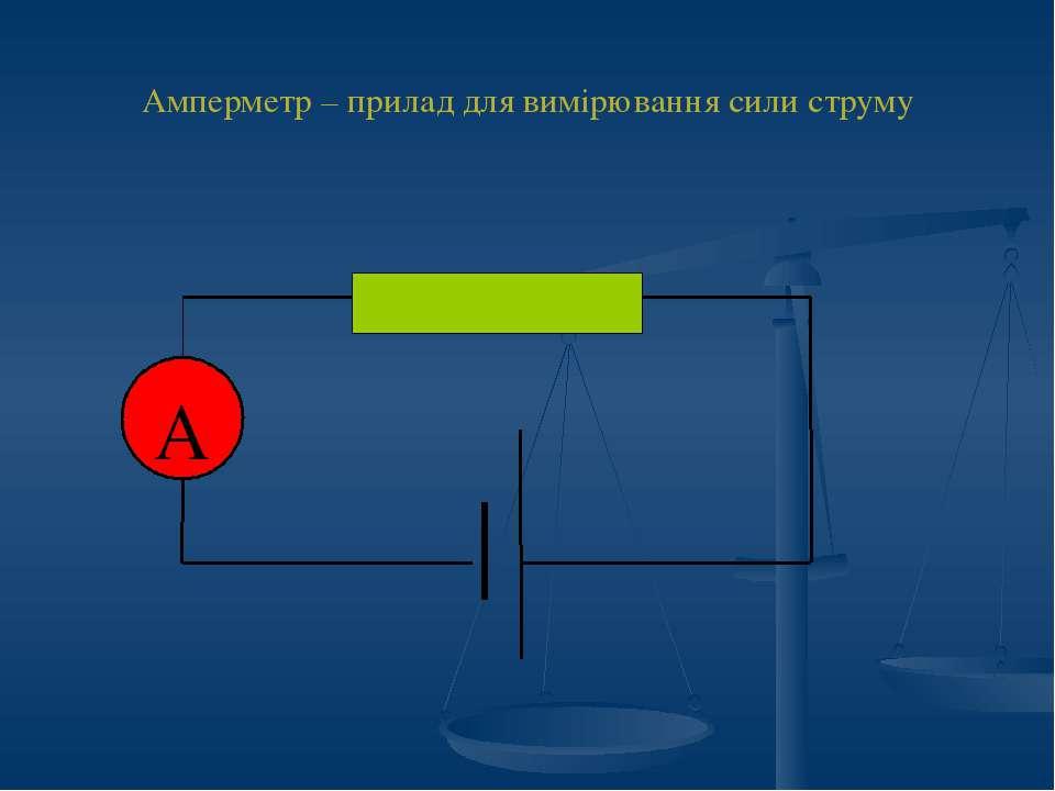 Амперметр – прилад для вимірювання сили струму А