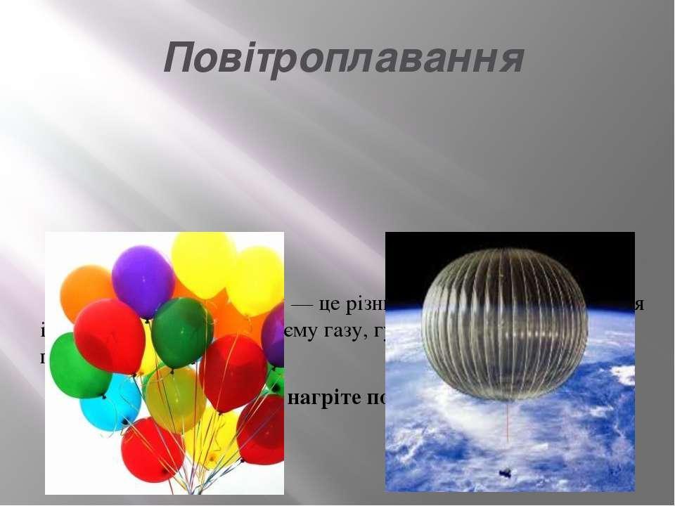 Повітроплавання Підіймальна сила газу — це різниця між вагою 1 м3повітря і в...