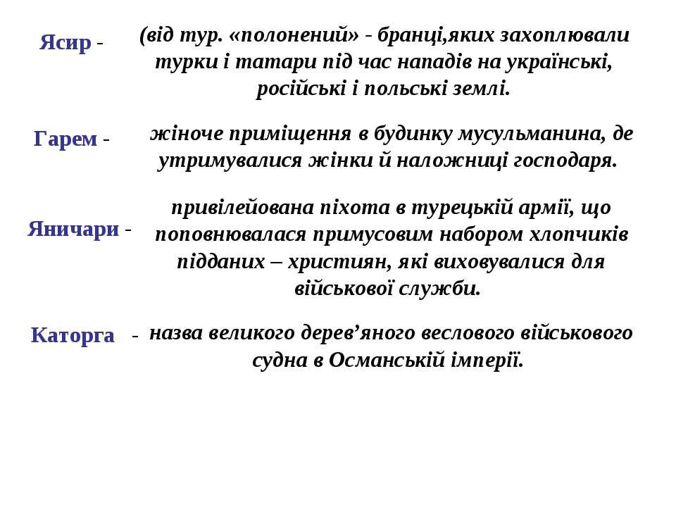 Ясир - (від тур. «полонений» - бранці,яких захоплювали турки і татари під час...