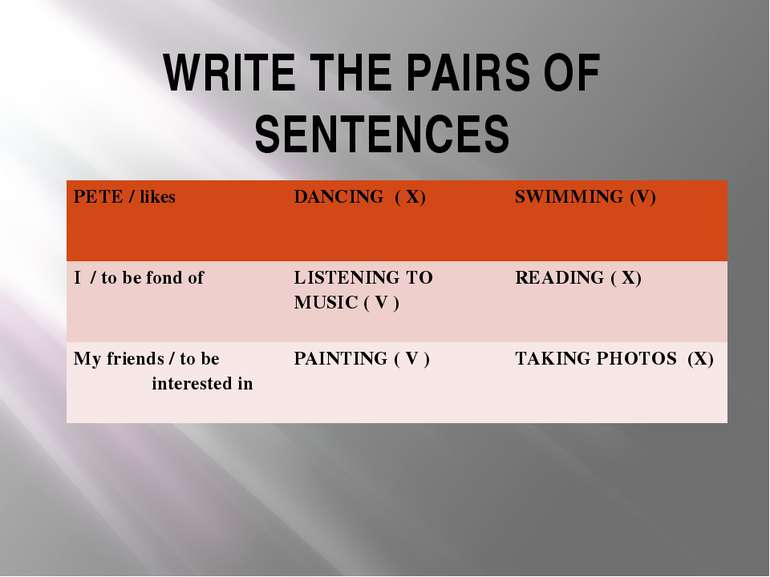 WRITE THE PAIRS OF SENTENCES PETE /likes DANCING ( X) SWIMMING (V) I /to be f...