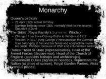 Monarchy Queen's birthday 21 April 1926: actual birthday Summer birthday sinc...
