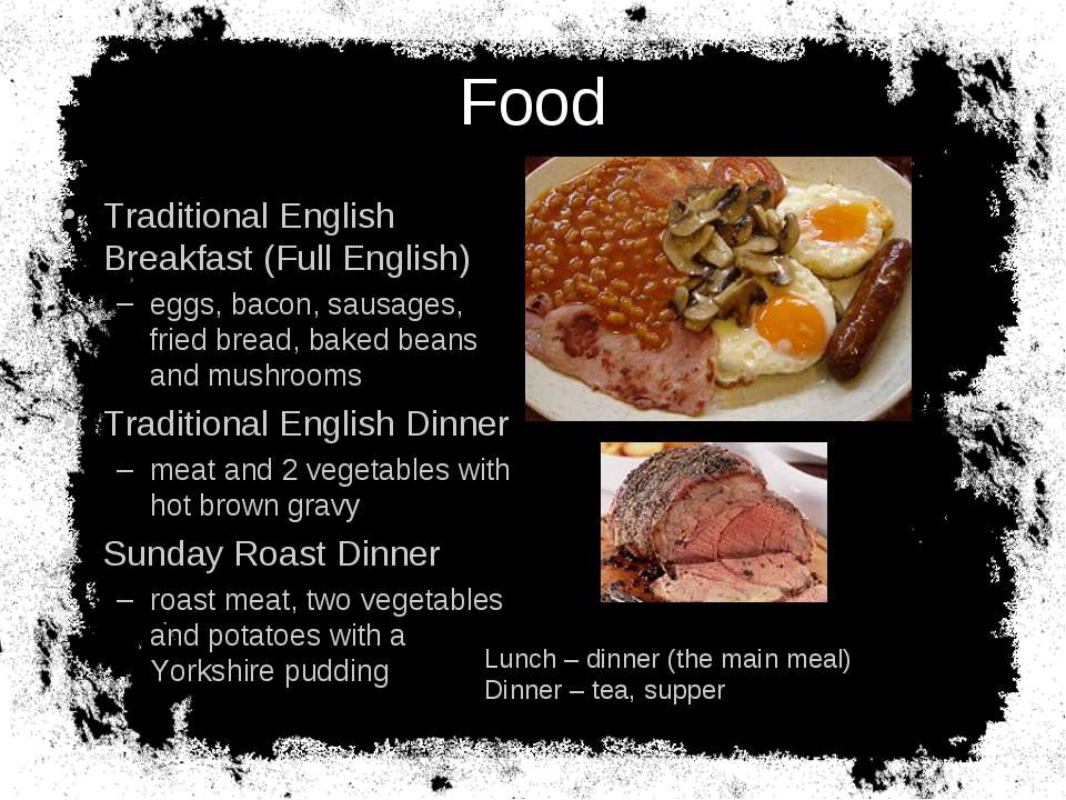 Food Traditional English Breakfast (Full English) eggs, bacon, sausages, frie...