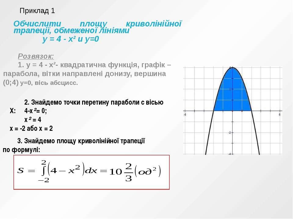 Обчислити площу криволінійної трапеції, обмеженої лініями у = 4 - х² и у=0 Ро...