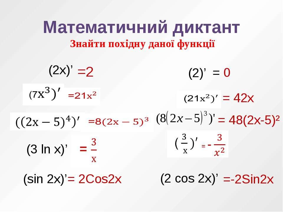 Математичний диктант Знайти похідну даної функції (3 ln x)' (sin 2x)' (2)' (2...