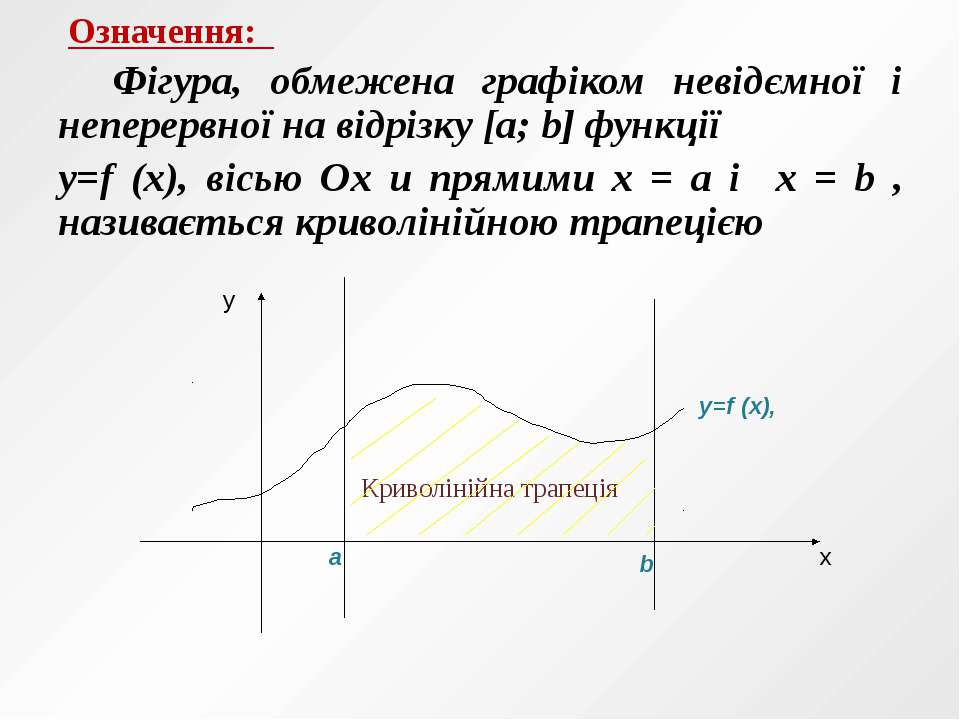 Означення: Фігура, обмежена графіком невідємної і неперервної на відрізку [a;...