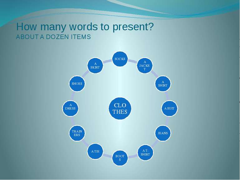 How many words to present? ABOUT A DOZEN ITEMS CLOTHES SOCKS A JACKET A SHIRT...