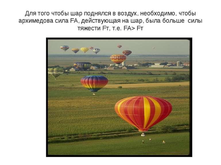Для того чтобы шар поднялся в воздух, необходимо, чтобы архимедова сила FА, д...