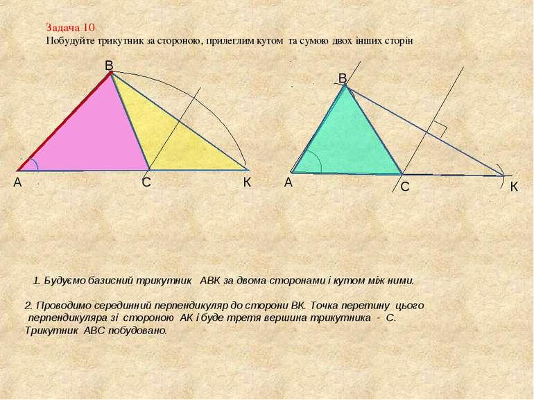Задача 10 Побудуйте трикутник за стороною, прилеглим кутом та сумою двох інши...