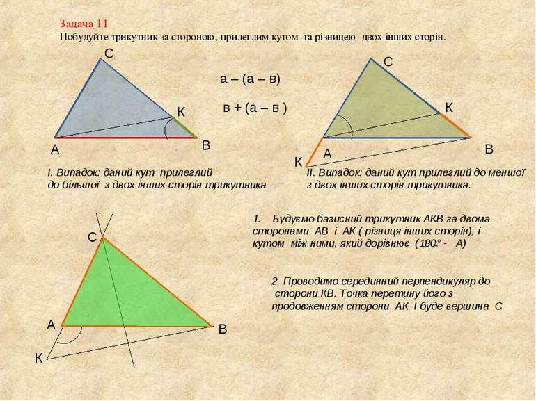 Задача 11 Побудуйте трикутник за стороною, прилеглим кутом та різницею двох і...