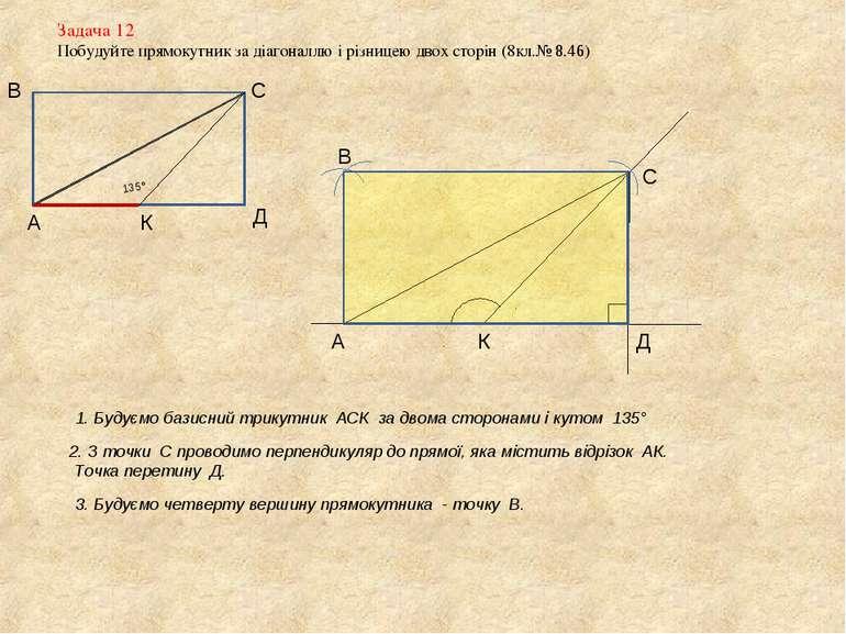 Задача 12 Побудуйте прямокутник за діагоналлю і різницею двох сторін (8кл.№ 8...