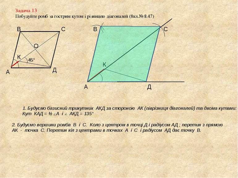 Задача 13 Побудуйте ромб за гострим кутом і різницею діагоналей (8кл.№ 8.47) ...