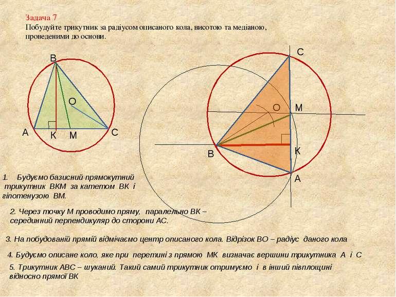Задача 7 Побудуйте трикутник за радіусом описаного кола, висотою та медіаною,...