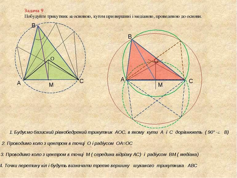 Задача 9 Побудуйте трикутник за основою, кутом при вершині і медіаною, провед...