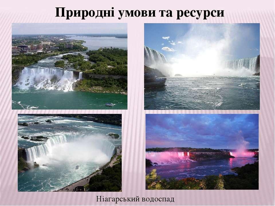 Ніагарський водоспад Природні умови та ресурси