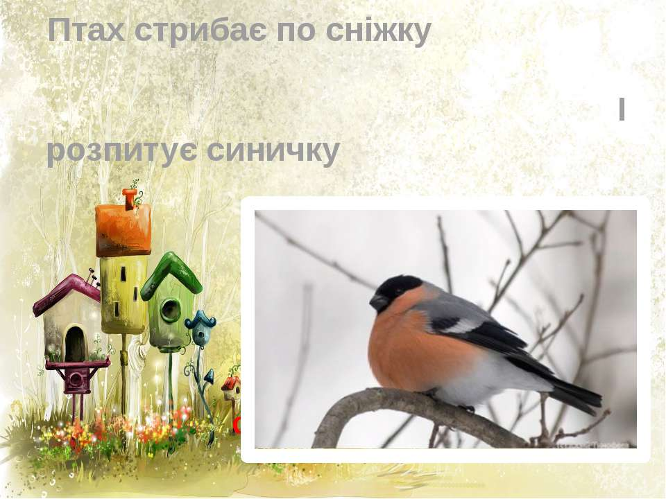 1 У червонім фартушку Птах стрибає по сніжку І розпитує синичку Про найближчу...