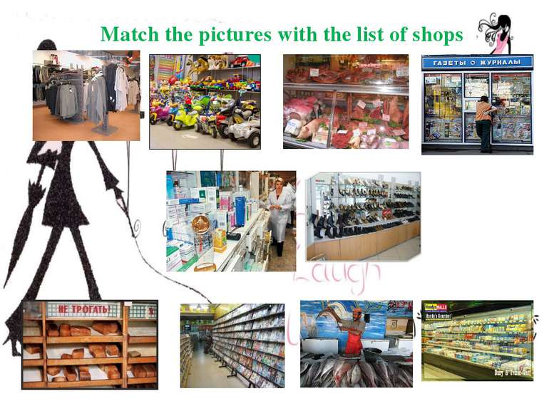 Match the pictures with the list of shops