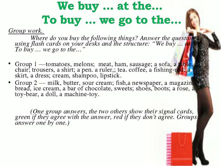 Group work. Where do you buy the following things? Answer the question using ...