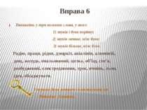 Вправа 6 Випишіть у три колонки слова, у яких: 1) звуків і букв порівну; 2) з...