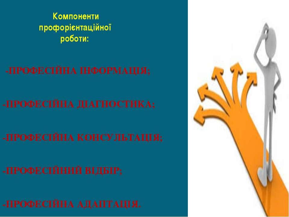 Компоненти профорієнтаційної роботи: -ПРОФЕСІЙНА ІНФОРМАЦІЯ; -ПРОФЕСІЙНА ДІАГ...