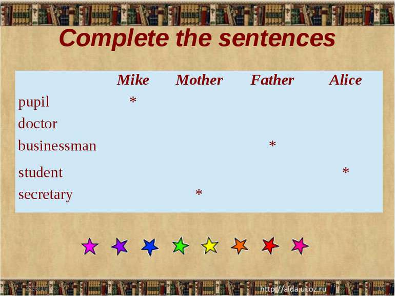 Complete the sentences Mike Mother Father Alice pupil * doctor businessman * ...
