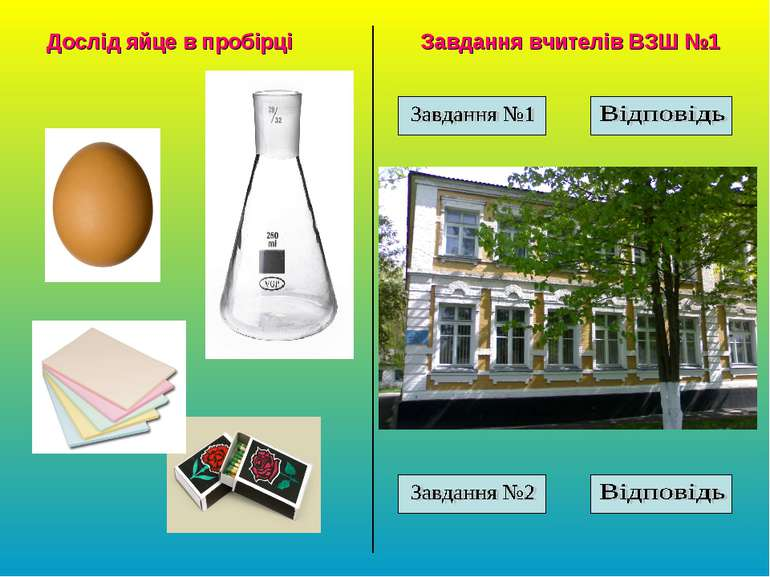Дослід яйце в пробірці Завдання вчителів ВЗШ №1
