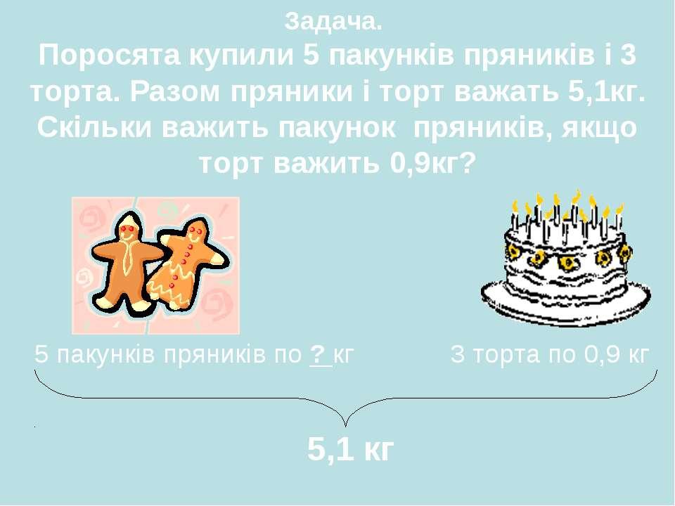 5 пакунків пряників по ? кг 3 торта по 0,9 кг 5,1 кг Задача. Поросята купили ...