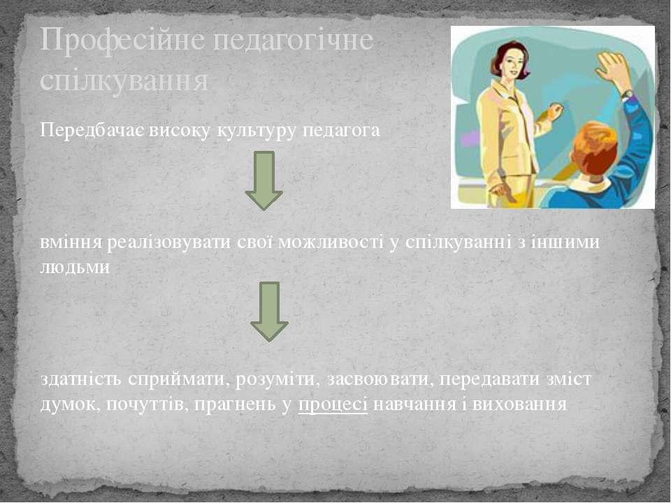 Професійне педагогічне спілкування Передбачає високу культуру педагога вміння...