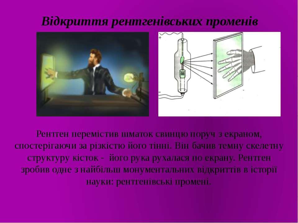 Відкриття рентгенівських променів Рентген перемістив шматок свинцю поруч з ек...