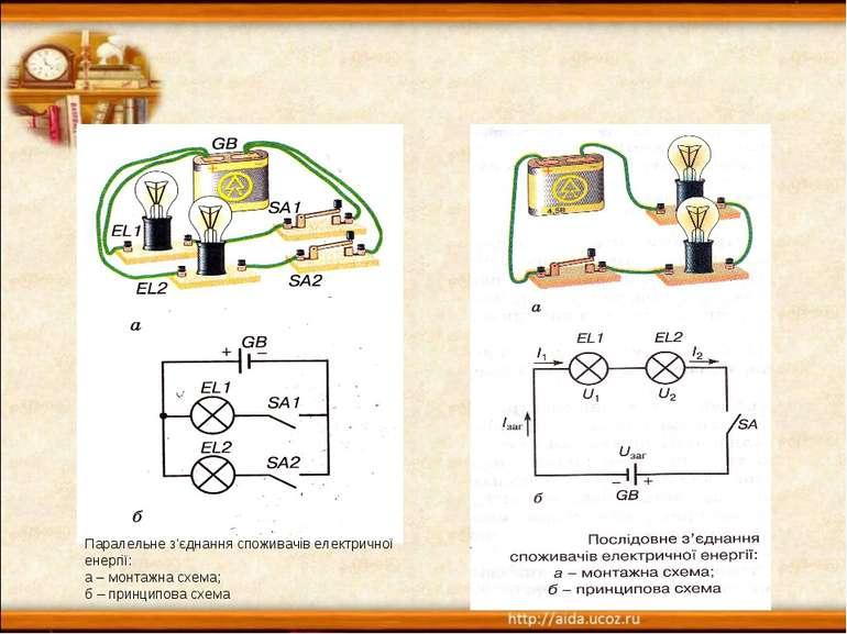 Паралельне з'єднання споживачів електричної енергії: а – монтажна схема; б – ...