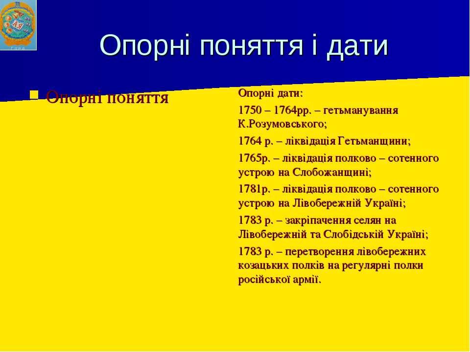 Опорні поняття і дати Опорні поняття Опорні дати: 1750 – 1764рр. – гетьманува...