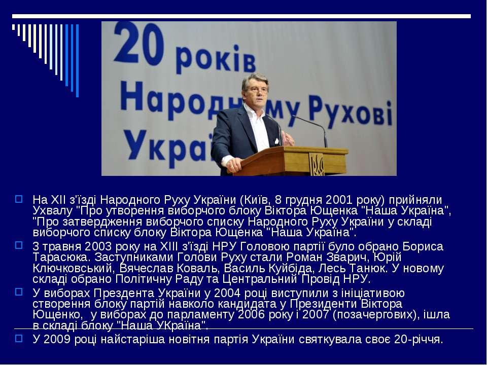 На ХІІ з'їзді Народного Руху України (Київ, 8 грудня 2001 року) прийняли Ухва...