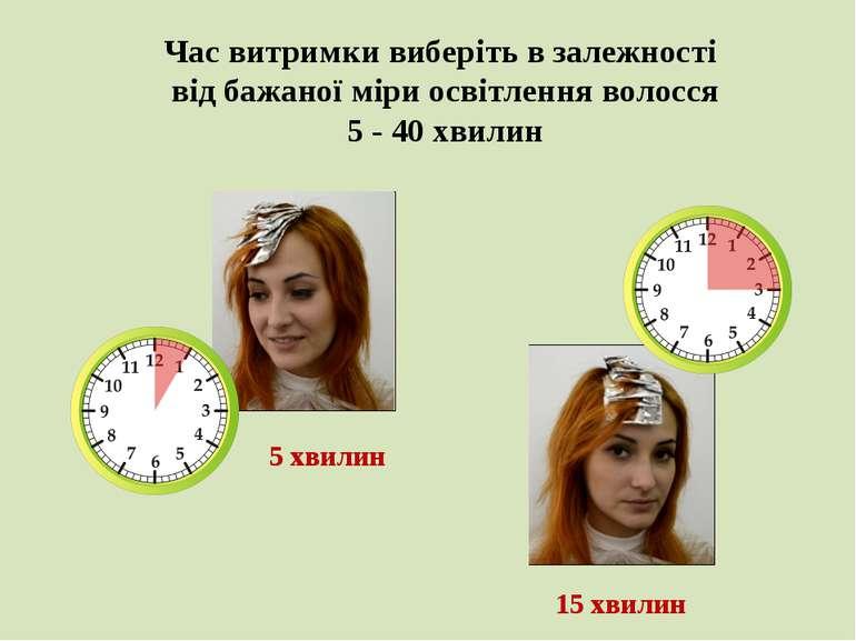 Час витримки виберіть в залежності від бажаної міри освітлення волосся 5 - 40...