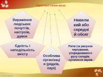 Характерні ознаки вірша: Вираження людських почуттів, настроїв, думок Невелик...