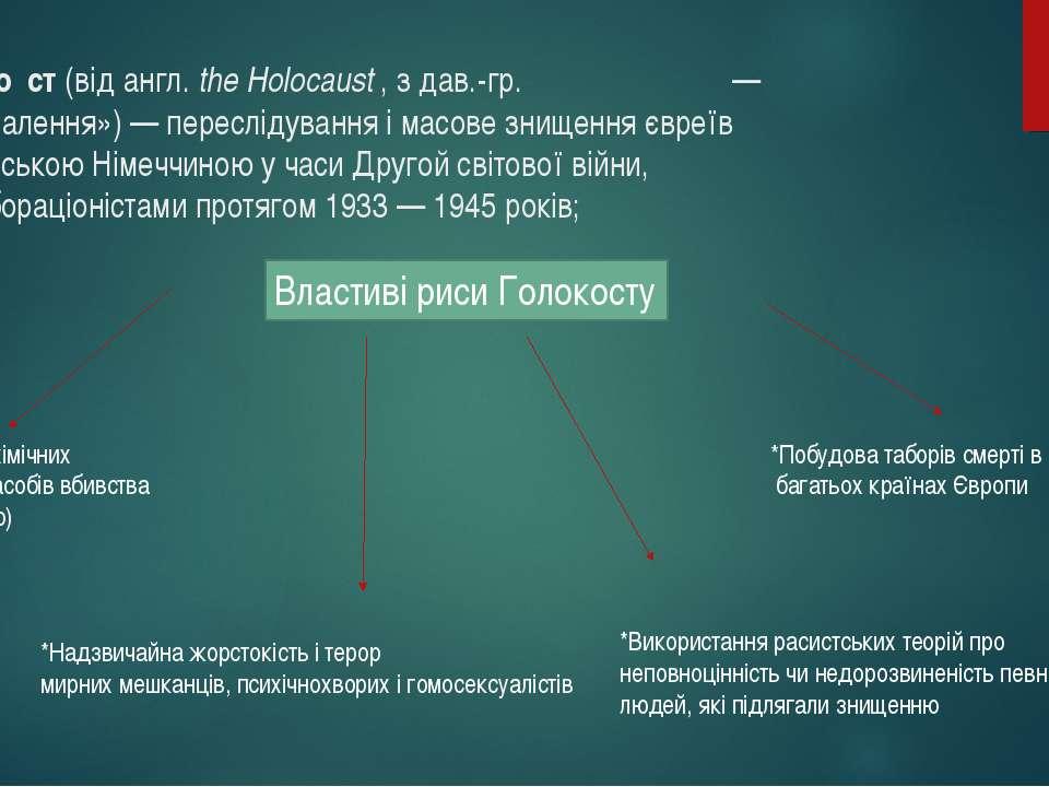 Голоко ст(відангл.the Holocaust, здав.-гр.ὁλοκαύστος— «всеспалення»)—...