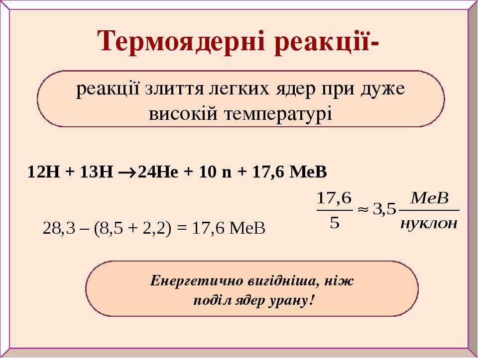 Енергетично вигідніша, ніж поділ ядер урану! Термоядерні реакції- 12Н + 13Н 2...