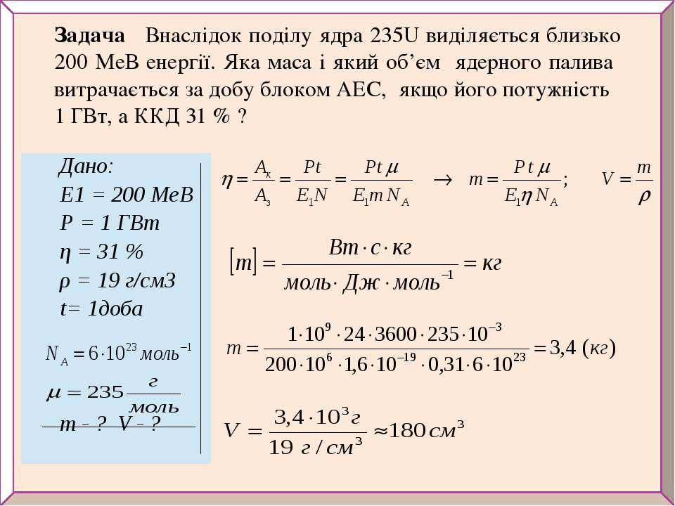 Задача Внаслідок поділу ядра 235U виділяється близько 200 МеВ енергії. Яка ма...