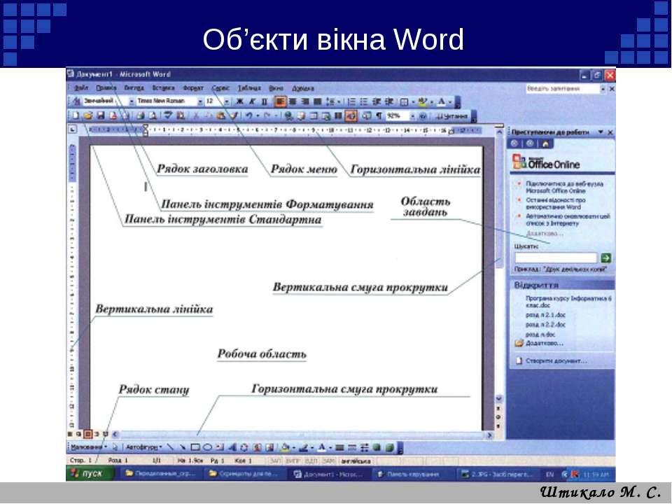 Об'єкти вікна Word Штикало М. С.